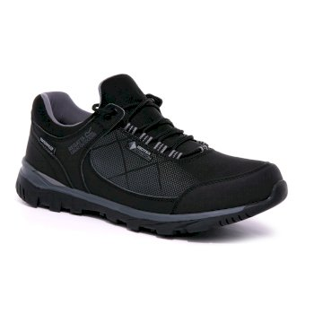 Men's Highton Stretch Waterproof Walking Shoes Black Rock Grey
