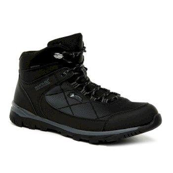 Men's Highton Stretch Waterproof Walking Boots Black Ash