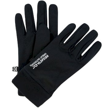 Men's Extol Stretch Gloves with Fleece Cuffs Gloves Black