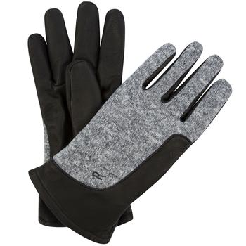 Men's Gerson Leather Gloves with Knit Effect Fleece Panel Black Dust