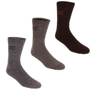 Men's 3 Pack Plain Socks Brown Marl