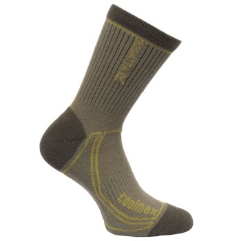 Men's 2 Season Coolmax Trek & Trail Socks - Dusty Olive Dark Spruce