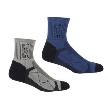 Men's 2 Pair Outdoor Active Socks Navy Dark Steel