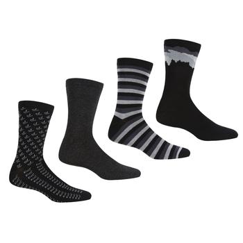 Men's 4 Pair Lifestyle Socks Black