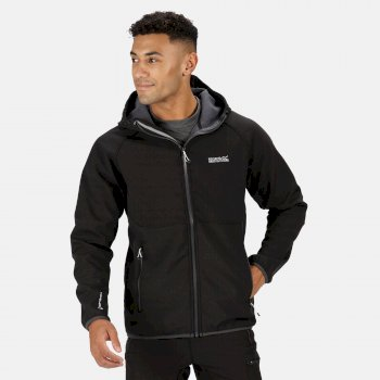 Men's Arec II Hooded Softshell Jacket Black Seal Grey