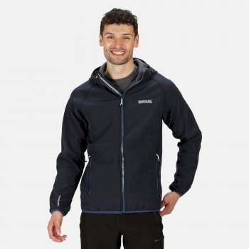 Men's Arec II Hooded Softshell Walking Jacket Navy Seal Grey