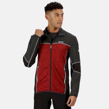 Men's Yare III Full Zip Softshell Walking Jacket Chinese Red Marl Ash