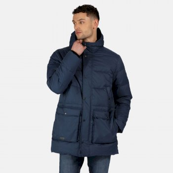 Men's Ardal Insulated Hooded Parka Jacket Dark Denim