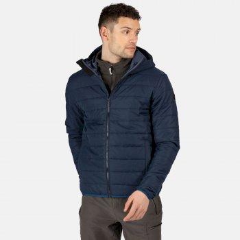 Men's Helfa Insulated Quilted Hooded Hiking Jacket Nightfall Navy