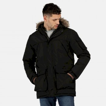 Men's Salinger II Waterproof Insulated Fur Trimmed Hooded Parka Jacket Black