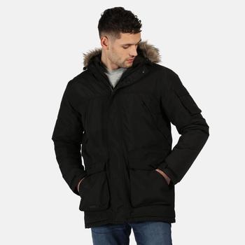 Men's Salinger II Waterproof Insulated Fur Trimmed Hooded Parka Jacket Black