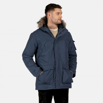 Men's Salinger II Waterproof Insulated Fur Trimmed Hooded Parka Jacket Dark Denim