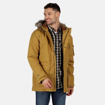 Men's Salinger II Waterproof Insulated Fur Trimmed Hooded Parka Jacket Bronze Mist
