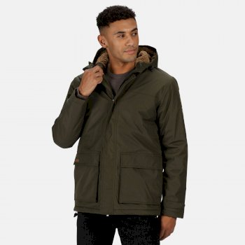 Men's Sterlings II Waterproof Insulated Hooded Jacket Dark Khaki