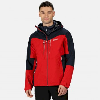 Men's Sacramento VI 3 In 1 Waterproof Hooded Walking Jacket True Red Nightfall Navy