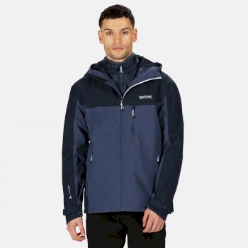 Men's Wentwood V 3 In 1 Waterproof Insulated Hooded Walking Jacket Brunswick Blue Nightfall Navy