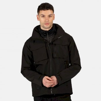 Men's Shrigley 3 In 1 Waterproof Insulated Hooded Walking Jacket Black Ash