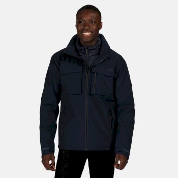 Men's Shrigley 3 In 1 Waterproof Insulated Hooded Walking Jacket Nightfall Navy