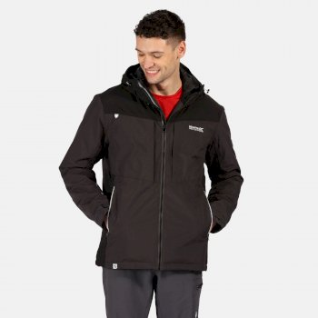 Men's Highton Stretch Waterproof Insulated Padded Hooded Walking Jacket Ash Black