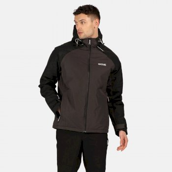 RMP303_61G: Mens Volter Protect Waterproof Insulated Hooded Heated Walking Jacket Ash Black