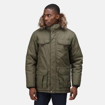 Men's Aarav Waterproof Insulated Parka Jacket Dark Khaki
