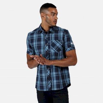 Men's Deakin III Short Sleeve Checked Shirt Navy Check