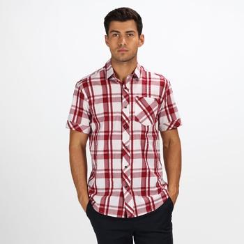 Men's Deakin III Short Sleeve Checked Shirt White Delhi Red