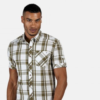 Men's Deakin III Short Sleeve Checked Shirt White Camo Green