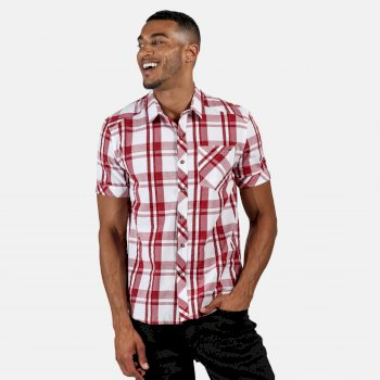 Men's Deakin III Short Sleeve Checked Shirt White Delhi Red Check