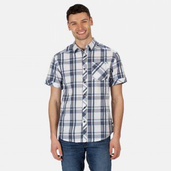 Men's Deakin III Short Sleeve Checked Shirt White Dark Denim