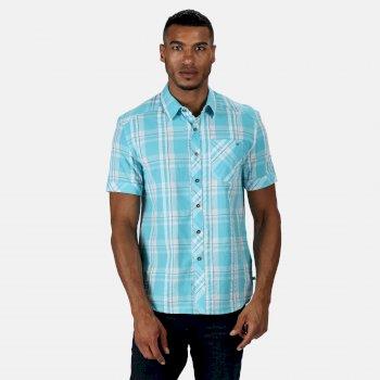 Men's Deakin III Short Sleeve Checked Shirt Maui Blue Check