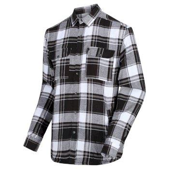 Men's Tygo Long Sleeved Checked Lined Shirt Black
