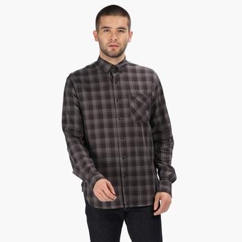 Men's Lazare Long Sleeved Checked Shirt Briar Grey Black