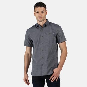 Men's Damari Short Sleeve Shirt Navy Pique Check