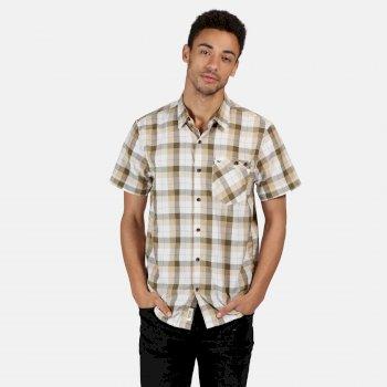 Men's Ramiro Short Sleeved Checked Shirt Camo Green