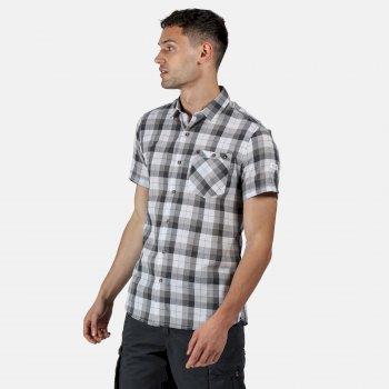 Men's Ramiro Short Sleeved Checked Shirt Rock Grey