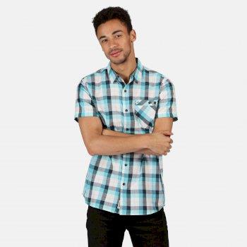 Men's Ramiro Short Sleeved Checked Shirt Maui Blue Check