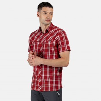 Men's Honshu V Short Sleeved Shirt Delhi Red Check