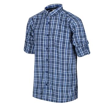 Men's Mindano III Long Sleeved Checked Shirt Dark Denim