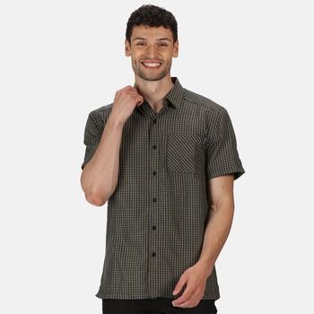 Men's Mindano V Short Sleeved Checked Shirt Ash