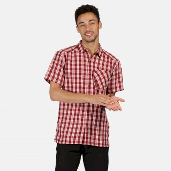 Men's Mindano V Short Sleeved Checked Shirt Delhi Red