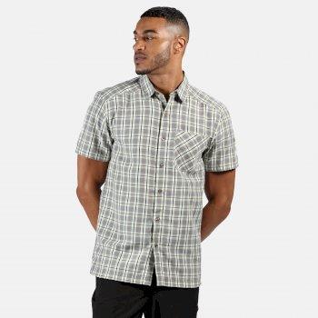 Men's Mindano V Short Sleeved Checked Shirt Rock Grey