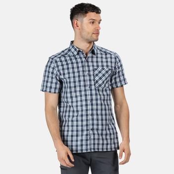 Men's Mindano V Short Sleeved Checked Shirt Dark Denim