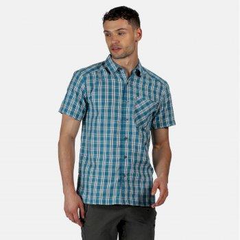 Men's Mindano V Short Sleeved Checked Shirt Olympic Teal