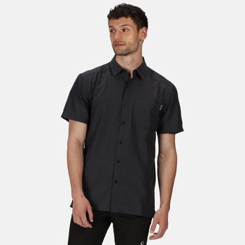 Men's Mindano V Short Sleeved Checked Shirt Ash Dash