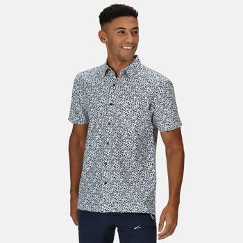 Men's Mindano V Short Sleeved Checked Shirt White Dark Denim Floral