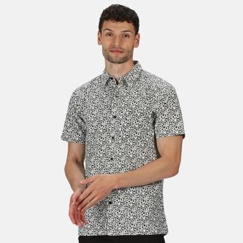 Men's Mindano V Short Sleeved Checked Shirt White Ash Floral