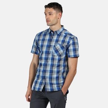 Men's Kalambo V Short Sleeved Checked Shirt Nautical Blue