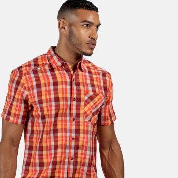 Men's Kalambo V Short Sleeved Checked Shirt Delhi Red