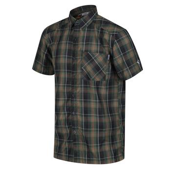 Men's Kalambo V Short Sleeved Checked Shirt Deep Forest